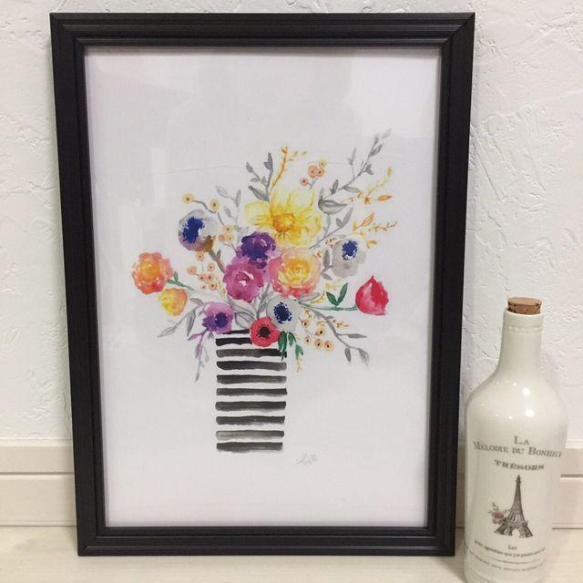 ハンドメイドマーケット+minne(ミンネ)|+▶︎送料無料◀︎ボタニカル×ボーダー花瓶+インテリアアートポスター☆