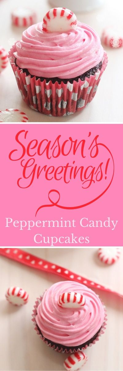 Pink Peppermint Candy Chocolate Cupcakes made with chocolate buttermilk cake mixed with crushed peppermint candies and frosted with pink peppermint cream cheese frosting!