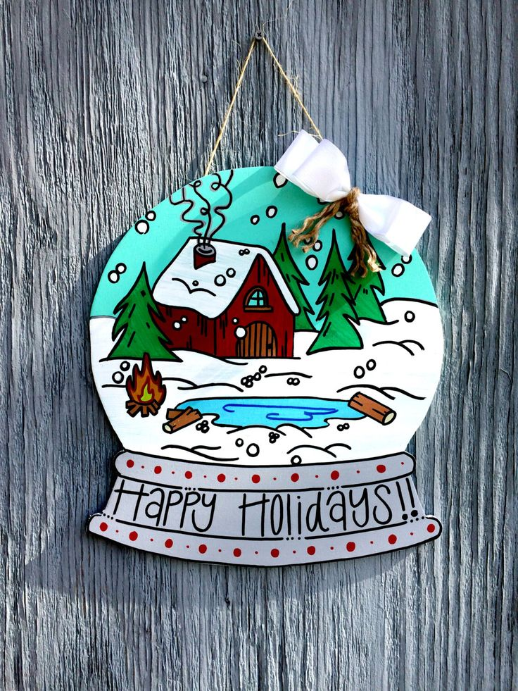 Christmas Door Hangers - Snow Globe Door Hanger - Happy ...