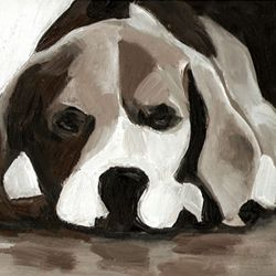 Tali Yalonetzki  has a remarkable ability to capture precious dog face expressions and make a timeless paining out of it.