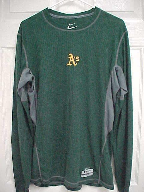 1de97e1a OAKLAND A's Men Long Sleeve Green Pullover Pro Combat Dri-Fit Shirt L Nike  MLB #Athletics #Nike #OaklandAthletics