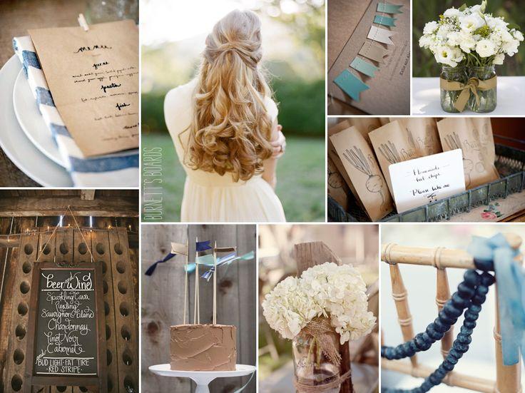 blue and brown rustic farm wedding