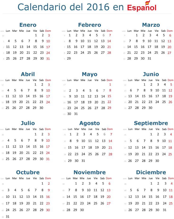 Calendario 2016 vectorial básico y en español (castellano), es editable, útil para crear calendarios a partir de él. Descarga gratis
