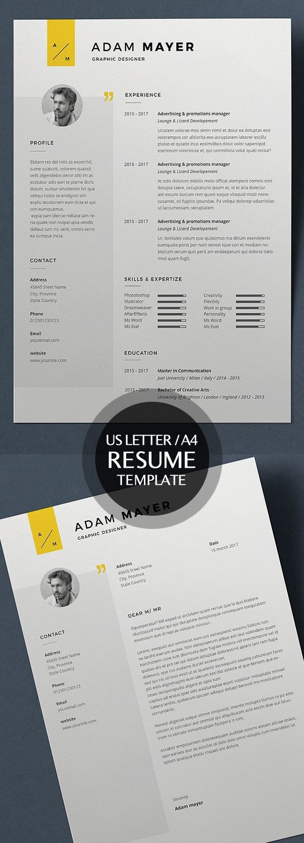Best professional u0026 clean Minimal Resume Templates