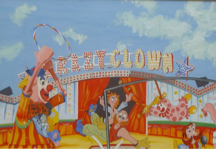 'Crazy Clown' Gouache on paper 29 x 20 cms. Based on the amusement park that used to be on the end of Brighton Pier.