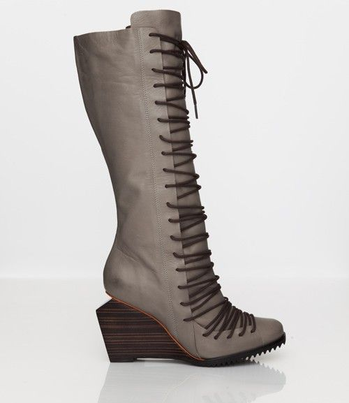Skin by FINSK AW13: 480-01 GREY knee-high leather lace-up boot from Skin By FINSK