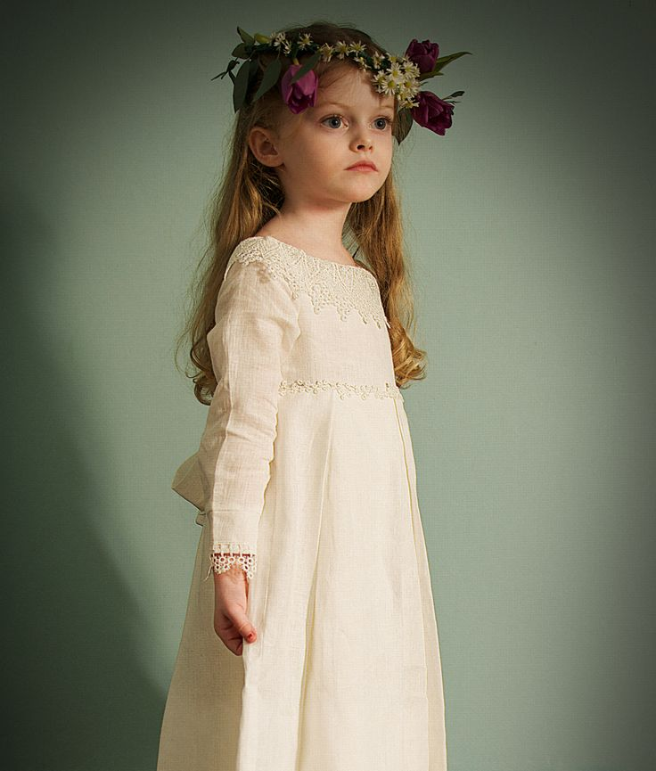 Do you want to design your own Irish linen dress for your first communion?  Choose between a full length dress with sleeves, ballet length or below the  knee length sleeveless dress. And now, choose your own lace..Voilá!  All our communion dresses are made with your input - once you order, we  will contact you to discuss design details.