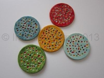 Round  Ceramic Coasters with Confetti Design / Handmade Pottery Coasters (Wedding Favor) (4 piece set)