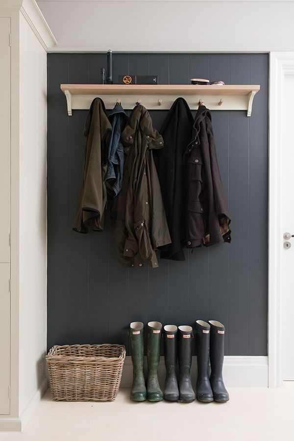 Neptune coat rack with wall painted in Charcoal #Neptune #NeptuneTailored #coatrack www.neptune.com