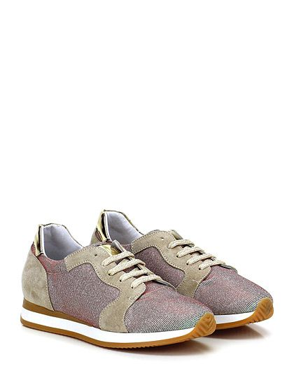 Mery - Sneakers - Donna - Sneaker in camoscio e tessuto lurex con inserti in pelle laminata. Suola in gomma, tacco 25, platform 15 con battuta 10. - SABBIA\SILVER