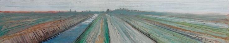 Perspectief 1 (30/150 cm, € 675,-) gaat over het plattte Zeeuwse landschap. Dit werk is gemaakt d.m.v. drippings naar het verdwijnpunt. Er is nauwelijks een kwast voor gebruikt.