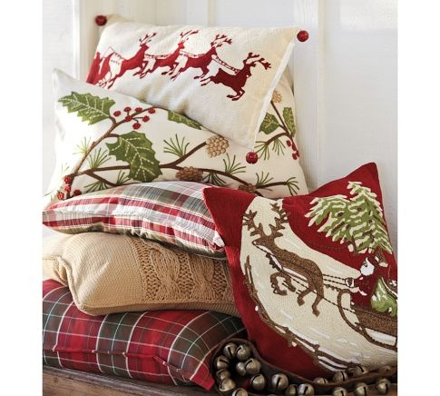 Holly Berry Embroidered Lumbar Pillow Cover | Pottery Barn