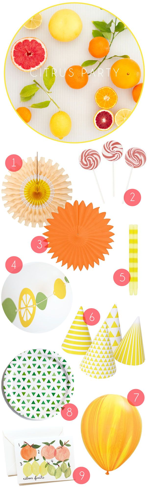 Citrus Party Supplies - Oh Happy Day! Love this set up.