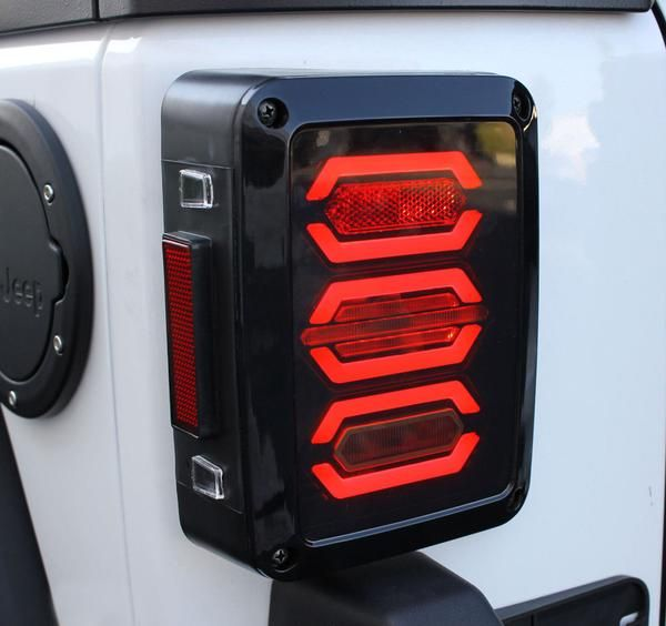 [countdown] These amazing replacement LED tail lights, fit all 2007 & up JK models. Replacing your boring stock tail lights has never been easier with these