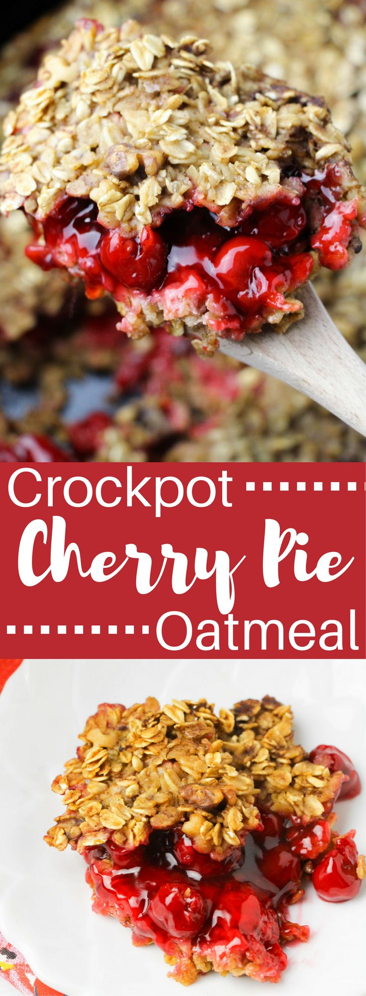 This cherry pie oatmeal is going to be one of your favorite weekday breakfasts. You'll love how easy and healthy it is and your kids will love this breakfast that tastes like dessert.