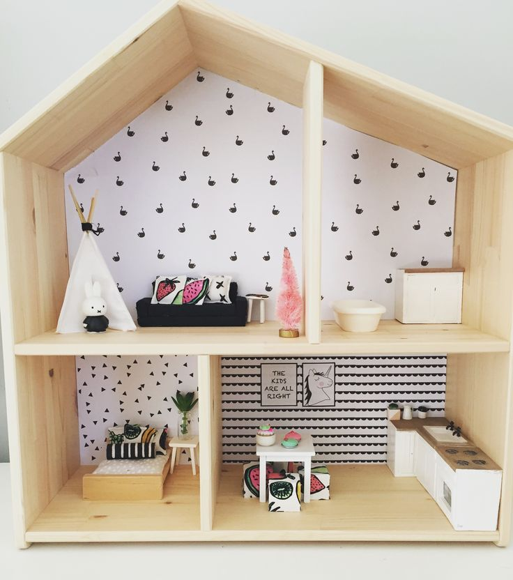 IKEA Flisat Hack, modern dollhouse renovation, 1:12 scale, monochrome decor, girls dollhouse ideas, modern miniatures, Follow @onebrownbear on Instagram