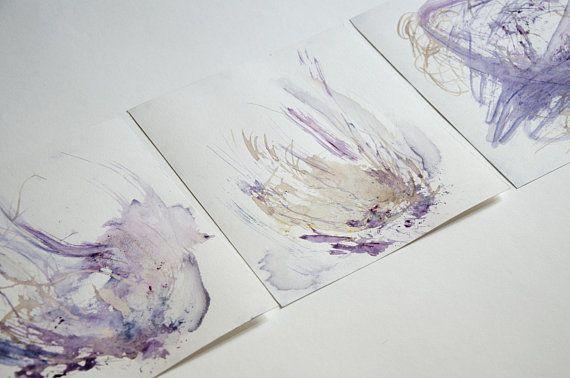 En quête d'une forme Peinture triptyque aquarelle, originale. Pastel doux   – Products