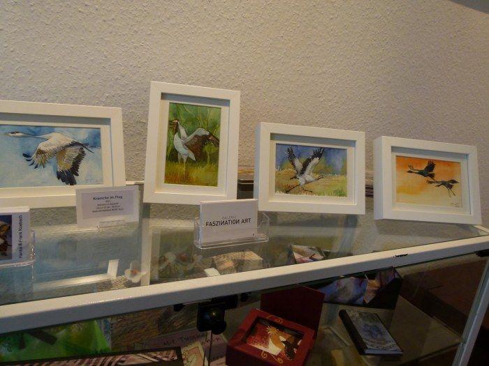Ausstellung Faszination Kraniche  Kraniche als Miniationen in Aquarell (c) Frank Koebsch