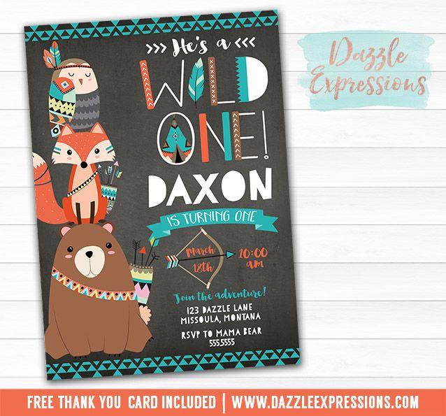 First Birthday Party Invitation Boy Chalkboard: Printable Chalkboard Wild One Tribal Woodland Birthday