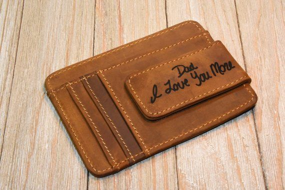 Handmade Money Clip Wallet Handwriting Wallet Minimalist Wallet Mens Wallet Slim Wallet For Boyfriend Gift For Him Gift For