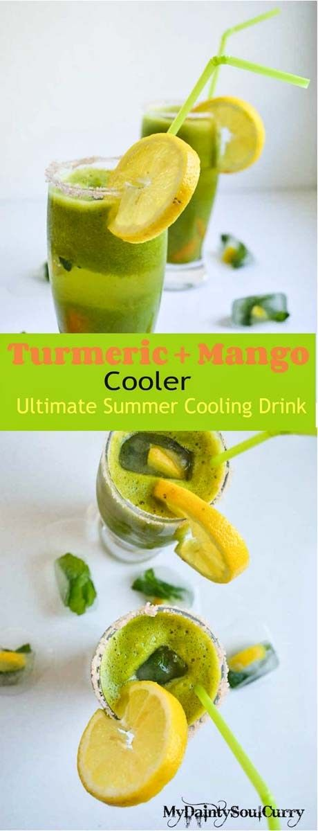 Mango turmeric cooler with vegan mango jelly, minty lemony ice cubes and sparkling water. Looking for some easy drinks for Mother's Day? Here is the one!