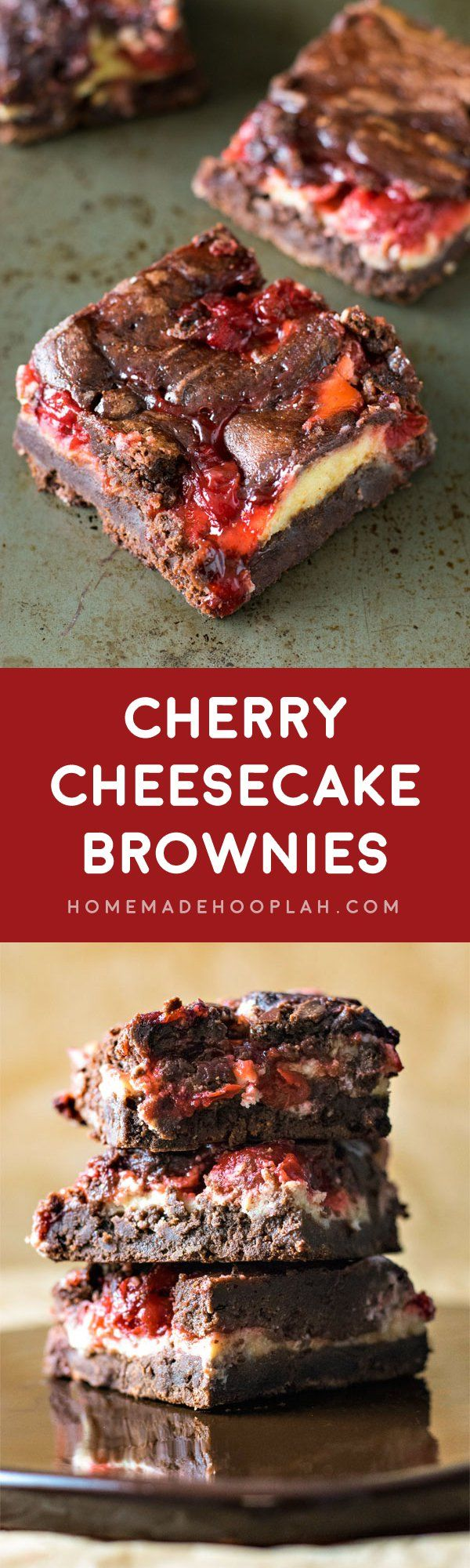 Cherry Cheesecake Brownies! The ultimate brownie recipe baked with swirls of cheesecake and cherry pie filling. | HomemadeHooplah.com
