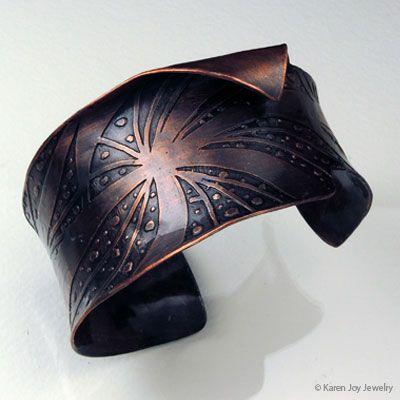 """""""Joy's Swirl"""" etched, patina copper Cuff Bracelet by Karen Joy  http://www.karenjoyjewelry.com/"""