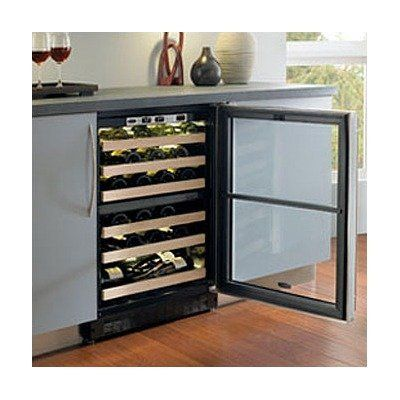 Chateau 44-Bottle Dual Zone Wine Refrigerator Door Frame: Stainless Steel, Hinge Location: Left by Marvel. $2399.00. 6SDZE-BS-G-L Door Frame: Stainless Steel, Hinge Location: Left Features: -Stores up to 44 bottles: 24 in upper zone and 20 in lower zone.-Each zone can be set to a specific serving temperature for reds, whites or sparkling wines.-Marvel's exclusive Sentry System refrigeration monitor to maintain precise temperatures.-Elegant blue LED display shows real-ti...