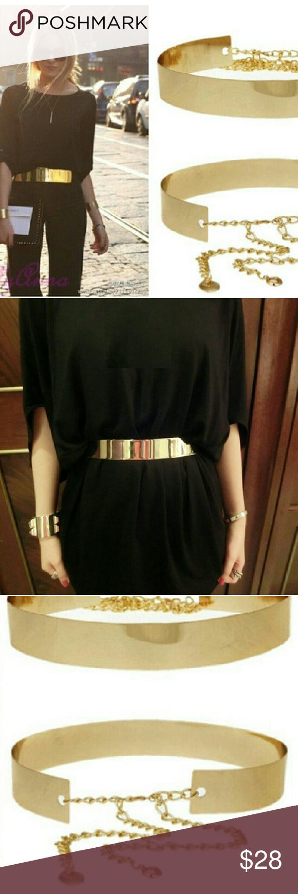 Gold Metal Obi Belt Gold Metal Obi Belt  seen everywhere on tv personalities you too can have this great look! Accessories Belts