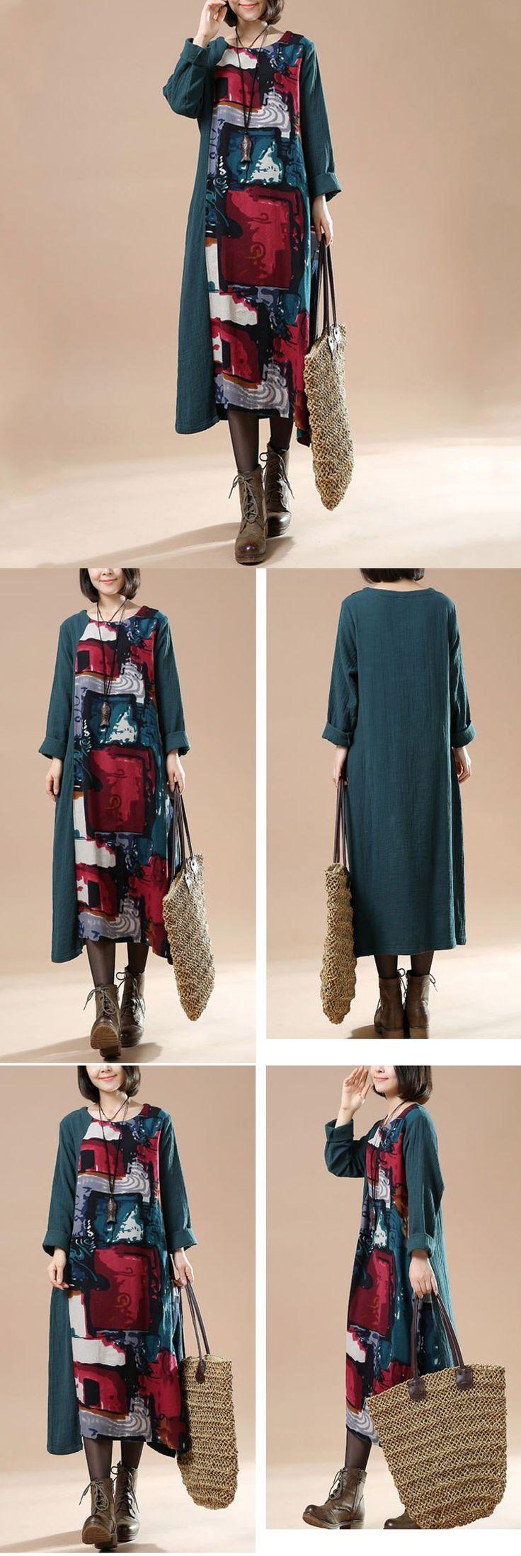 Women Autumn Plus Size Retro Print Long Sleeve Stitching Dress