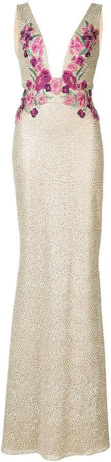 Marchesa Notte floral embroidered gown Gold toned floral embroidered gown, plunging neck, sleeveless, rear… - https://sorihe.com/adidas/2018/03/04/marchesa-notte-floral-embroidered-gown-gold-toned-floral-embroidered-gown-plunging-neck-sleeveless-rear-2/