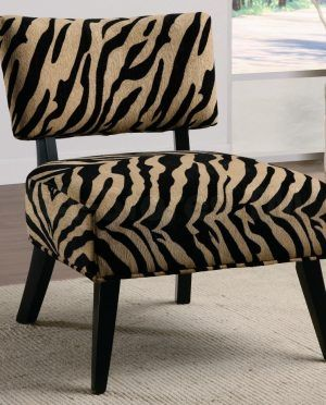 Rustic Style Zebra Print Saucer Chair With Low Style Separate Back Rest And Black Color Scheme Wood Materials Four Legs Also Comfy Square Shaped Seat Cushions Ornament Decorating Types