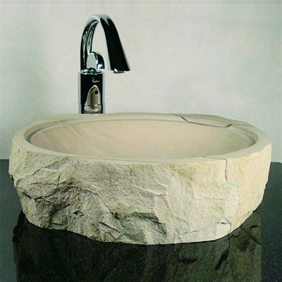 Yosemite Home Decor Stone Products Demtera Rough Cut Round Vessel Sink
