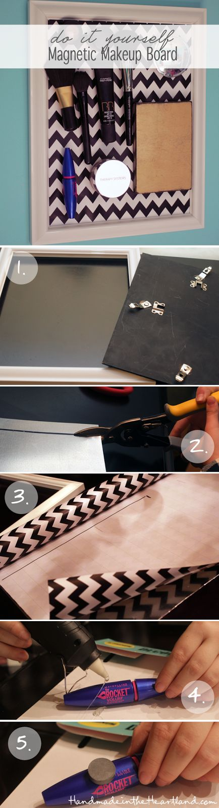 DIY Magnetic Makeup Board Tutorial. HandmadeintheHeartland.com