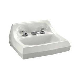 Kohler Kingston™ 21-1/4 x 18-1/8 in. Wall Mount Lavatory Sink with 3 Holes and Overflow White K2005-BA-0