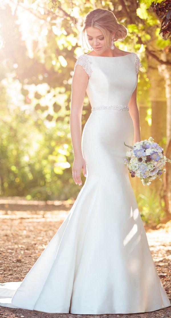 Alluring Satin Bateau Neckline Mermaid Wedding Dresses With Beaded Embroidery