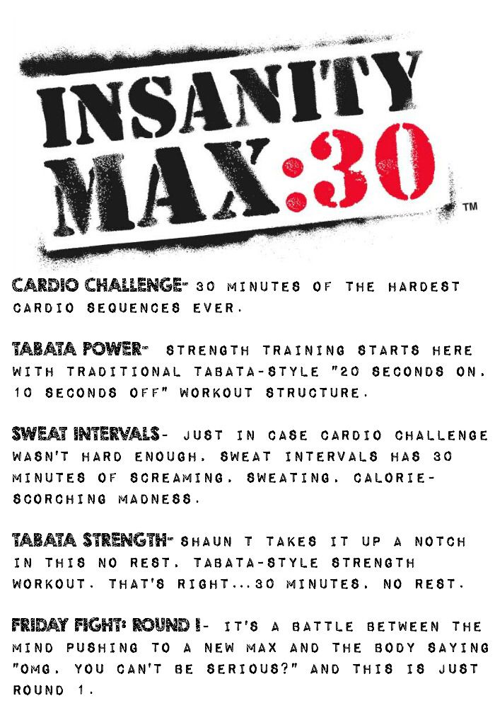Here are some of the workout descriptions from the all NEW Insanity ...