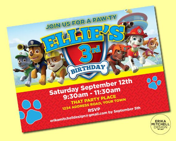 Paw Patrol Birthday Invite // DIGITAL FILE // CUSTOM Birthday Invitations by ErikaMitchellDesign on Etsy https://www.etsy.com/listing/242010802/paw-patrol-birthday-invite-digital-file