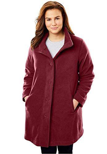 6397907e040 Woman Within Plus Size Fleece Swing Funnel-Neck Jacket - Blue Teal ...