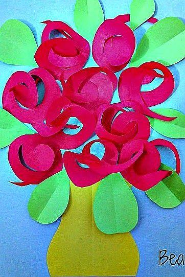 kreatywne prace plastyczne: Laurka dla Mamy z różami, a card with roses