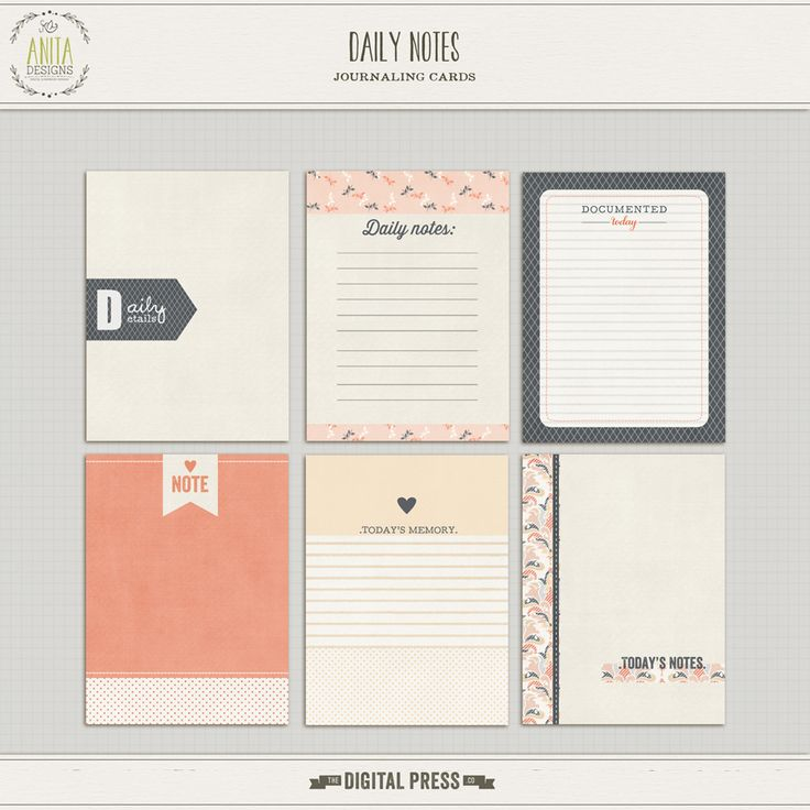 Daily notes {journaling cards}