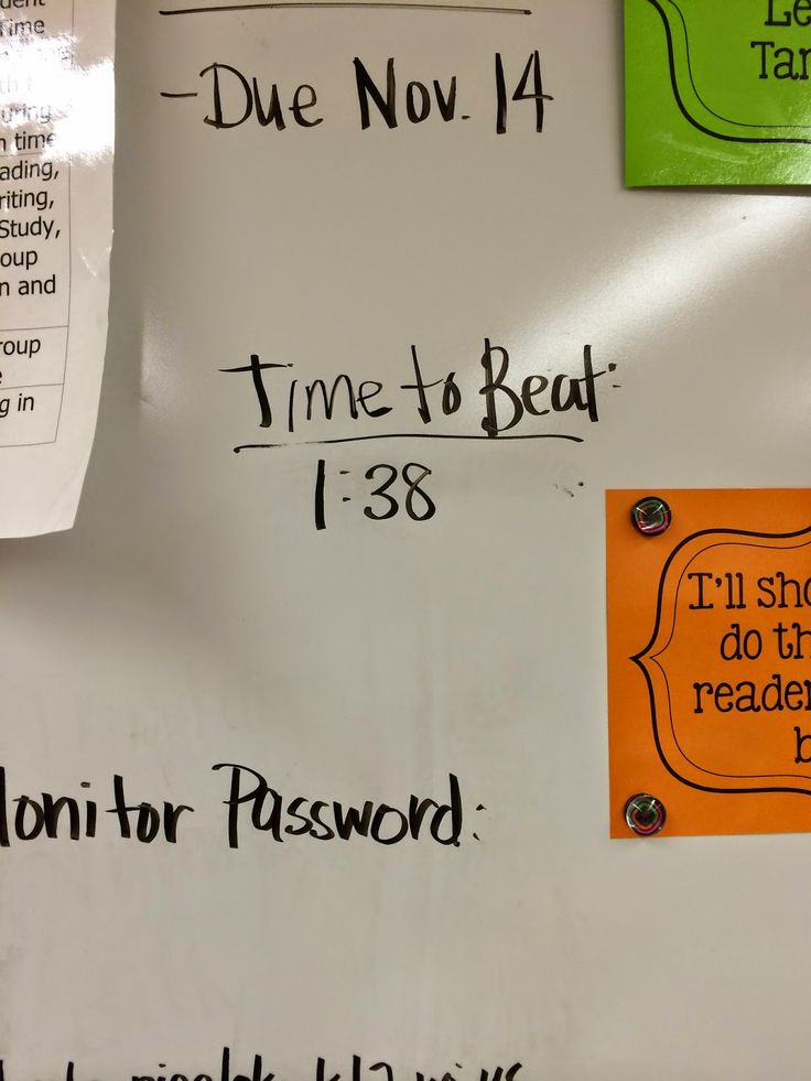 Once students enter the room each day, the timer begins. The timer stops once lunch count/attendance is taken on the Smartboard, everybody's materials are out on their desk with their binder underneath the desk, and everyone is seated. Sixth grade students love competing to beat their previous time. The best part? I don't have to say a word. My students encourage everyone to follow expectations and get ready to go as fast as they can.