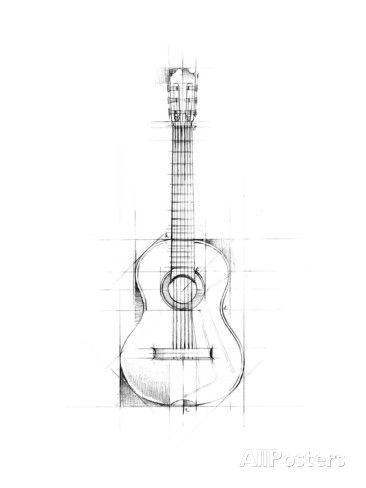 Guitar Sketch Stampa d'arte