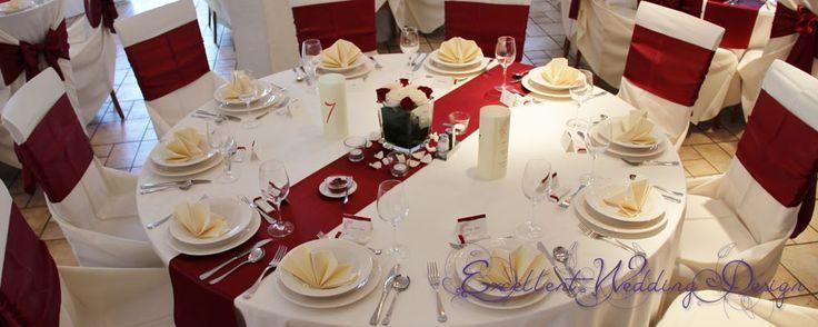Esküvői dekoráció, Bordó esküvői dekoráció, vendégasztal dekoráció