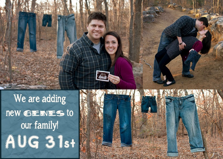 "Pregnancy Announcement Jeans ""new genes""Pregnancy Announcements, Derby Baby, Preg Announcements, Baby Ideas, Nursery'S Baby, Baby Stuff, Announcements Jeans"