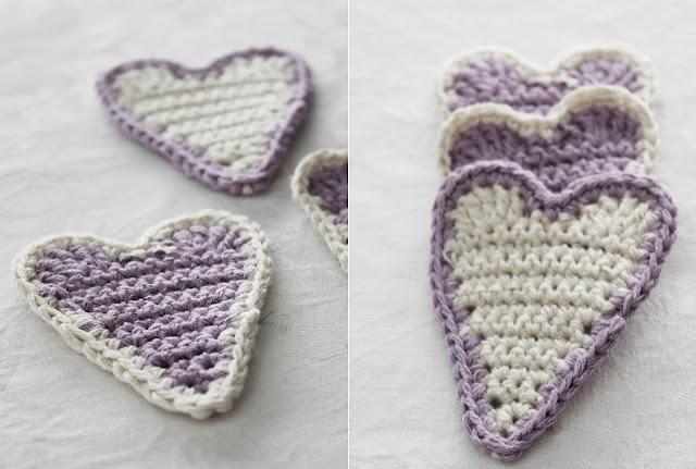 Hearts in crochet. Tutorial in Swedish.