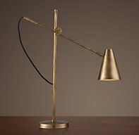 Option for Andy's Desk Lamp, or use the glass column lamp from Healdsburg  20th C. Torpedo Task Table Lamp - Vintage Brass
