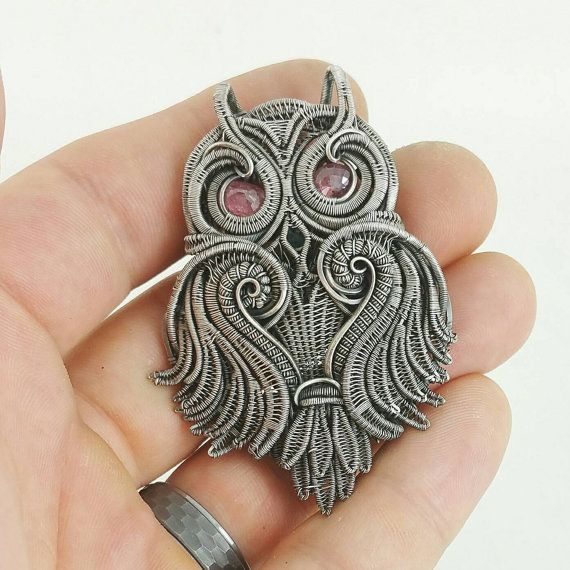 Silver Wire Wrapped Owl Pendant with Spinel by JamesSteffenDesigns