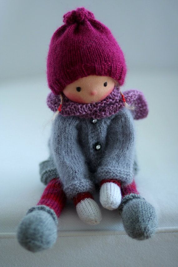 Waldorf knitted doll Josefa 13 by Peperuda dolls by danielapetrova
