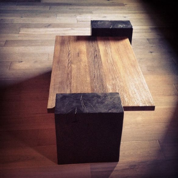 modern rustic coffee table. Ben Riddering design & woodcraft. Maybe a garden bench.